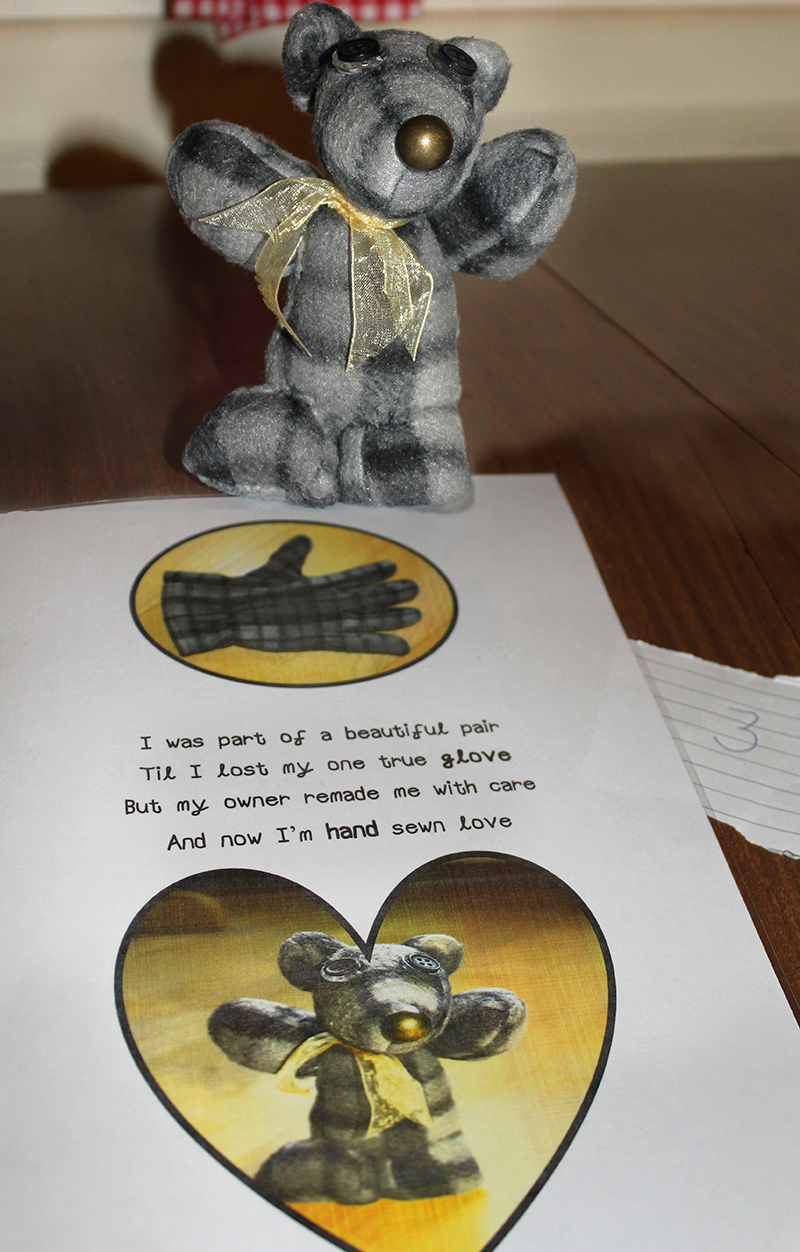 Susanna's hand sewn toy mouse made from a grey plaid glove