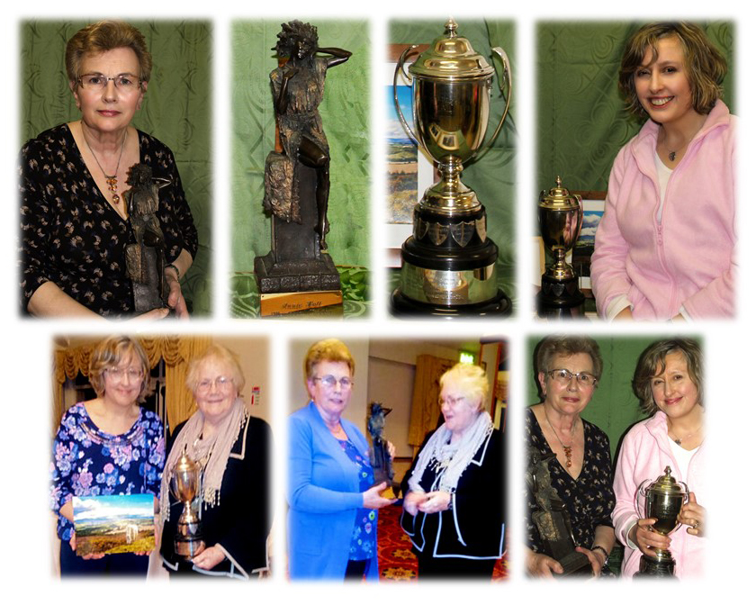 Collage showing Mary Finlay, Susanna Braswell and the trophies won by Wicklow Town Guild at Federation Arts and Crafts Night 2016
