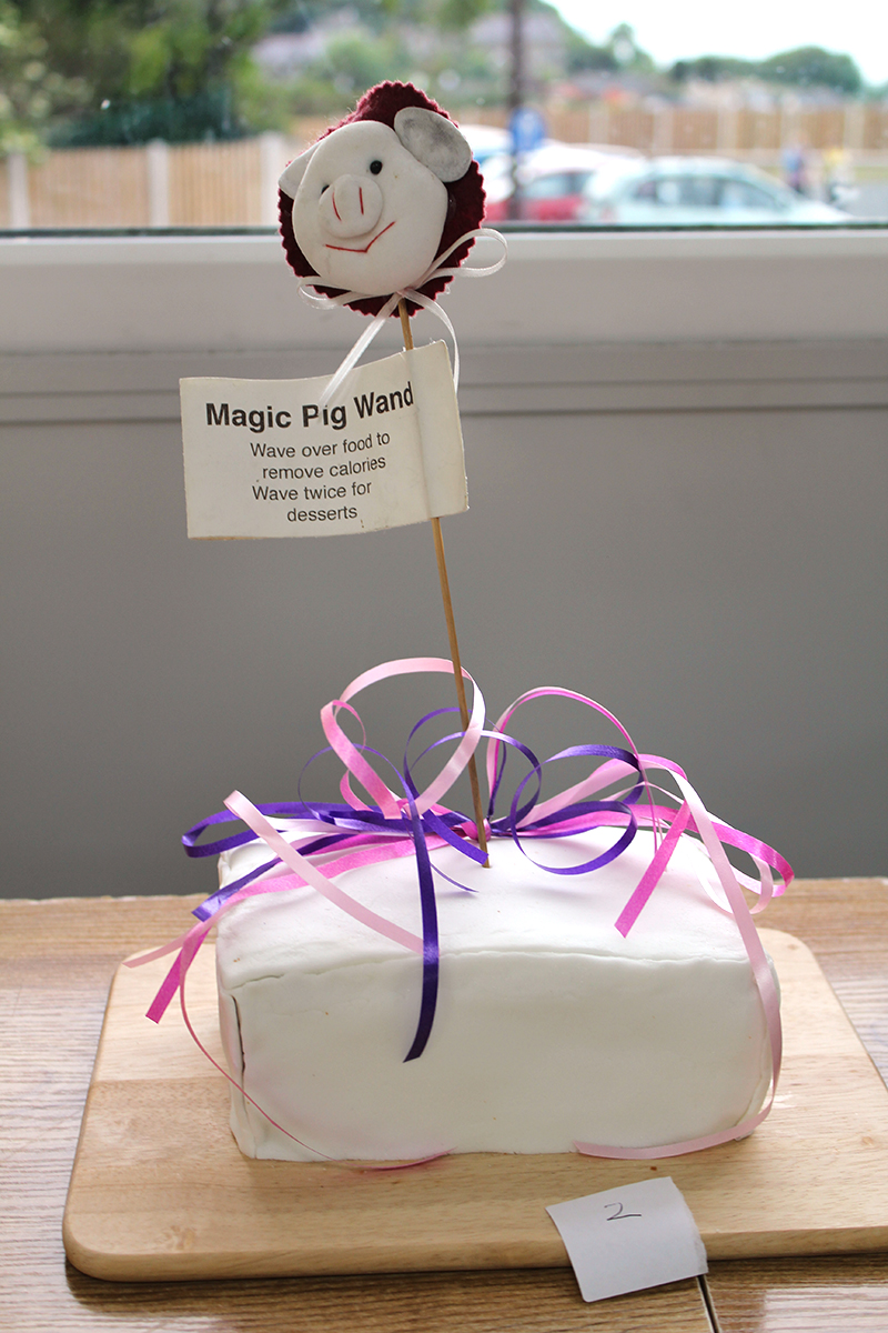 Iced fruit cake with a pig wand struck in it, sign on wand promising that wand can remove calories when waved over the cake