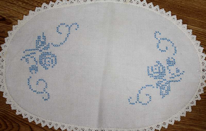 Cross stitch tray cloth by Mary DeCourcey
