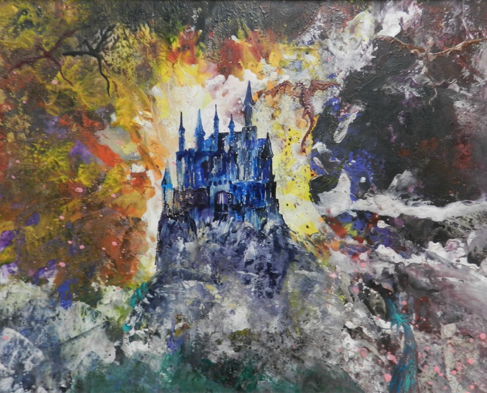Hilary Fitzgerald encaustic art depicting Hogwarts School perched on a high cliff