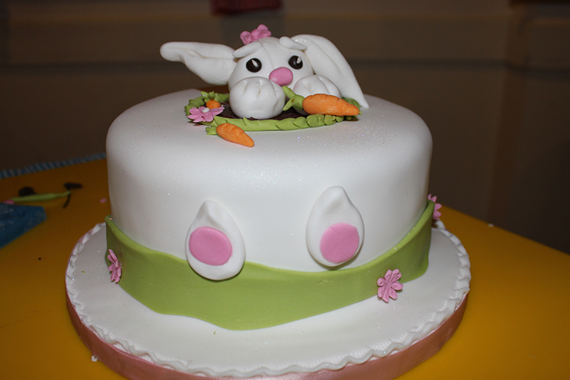 The finished bunny cake, top view