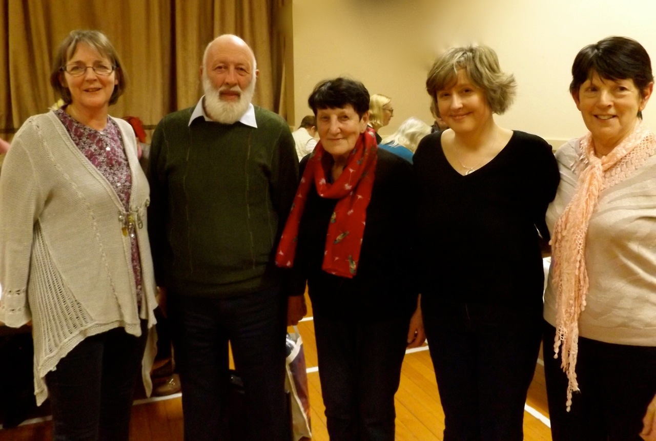 Margaret Jones, Quiz Master Andy Merrigan, Statia Ivers (Deputising for Wicklow Federation President Madge Kenny), Susanna Braswell, and Catherine Wynne